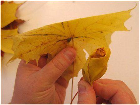 Осенняя романтика. Как сделать из листьев розу. Классно ) (13 фото)