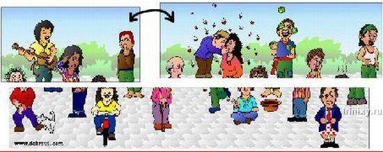 Иллюзия. Посчитай человечков (5 картинок)