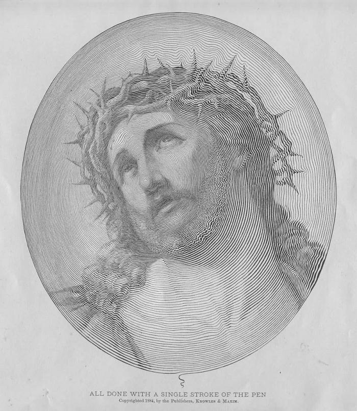 Ух! Картинка дня. Иисус Христос нарисованный шариковой ручкой без отрыва руки от бумаги