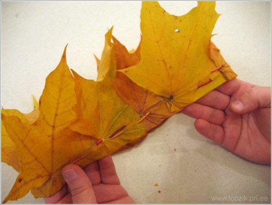 Из блога ГАЛИНЫ ШАДРИНОЙ.  Корона из кленовых листьев.  Можно делать из зеленых, летних, и осенних желтых!