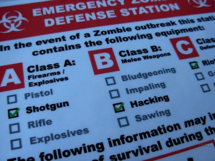 Отличный креатив - В случае атаки зомби разбить стекло (13 фото)
