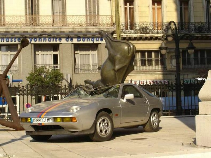 Как корова на Porsche упала (12 фото)