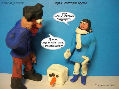 Крео. Снеговик-смайлик (6 картинок)