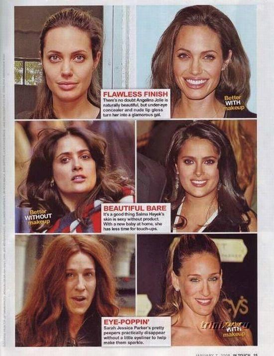 Gwiazdy bez makijażu: Angelina Joli Salma Hayek Sarah Jessica parker