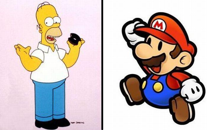 Как бы выглядел Гомер Симпсон и Марио, если бы были реальными людьми (2 фото)