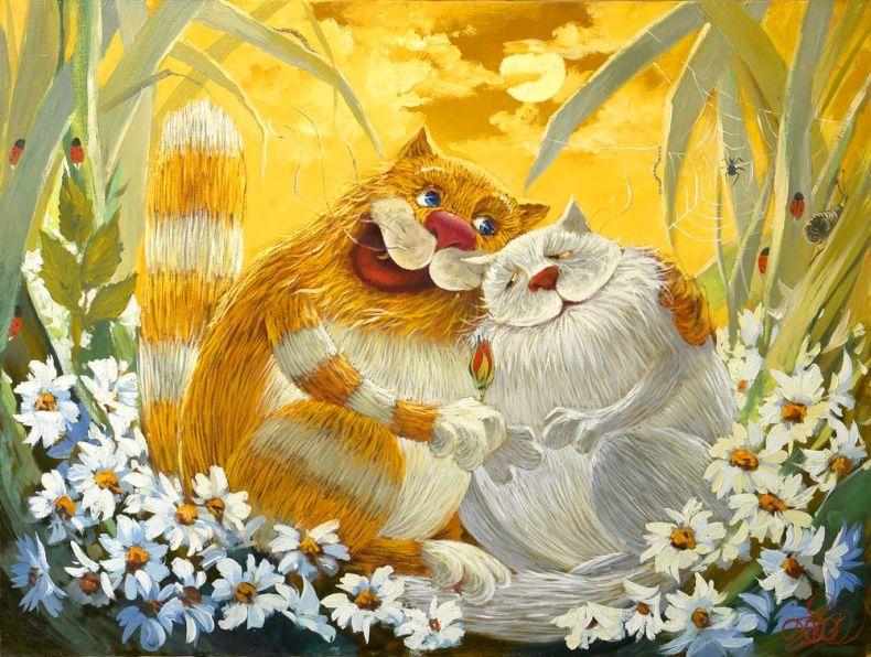 Рисованные коты Антон Горцевича (16 рисунков)