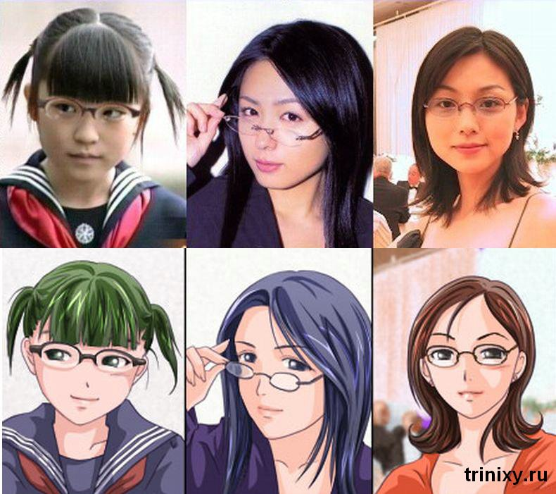 Японские рисунки по фотографиям (28 пар)