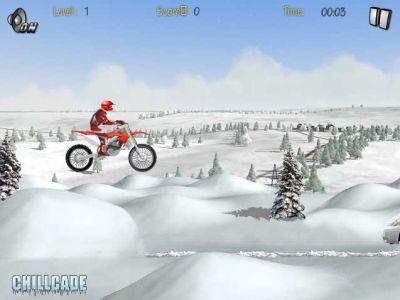 Зимние гонки на мотоцикле (flash игра)