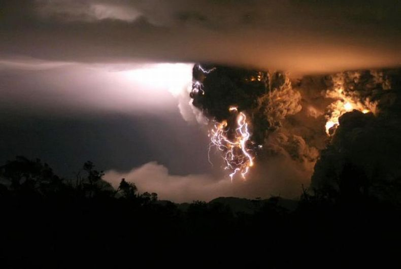 Извержение вулкана в чили во время