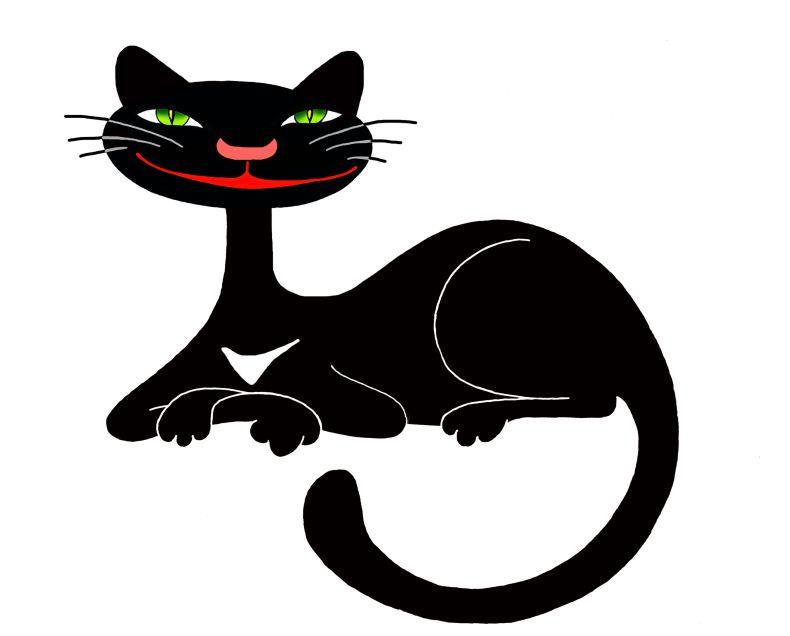 Прикольные рисованные картинки кошки.