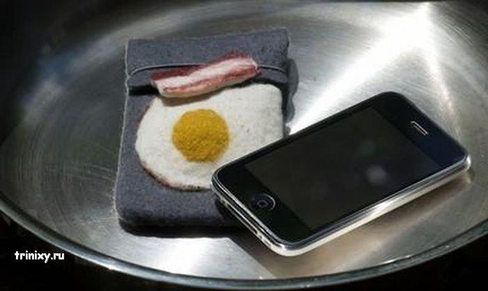 Чехол для iPhone в виде яичницы с беконом (5 фото)