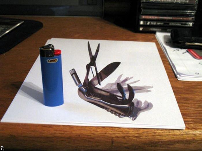 3Д рисунки - забавные иллюзии (10 фото)