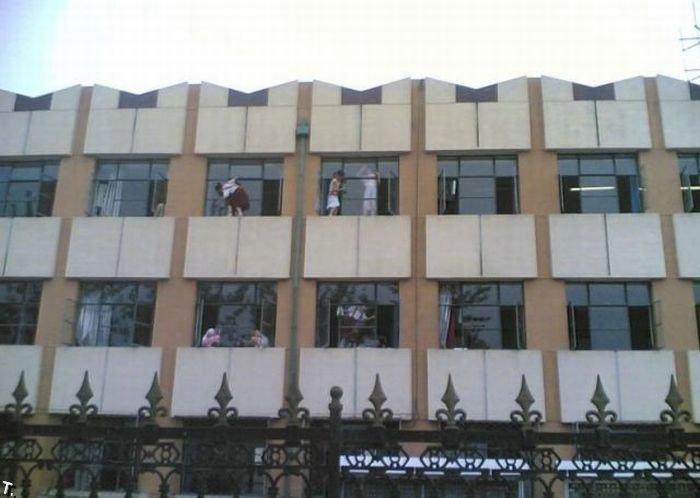 Мойка окон в китайской школе (6 фото)
