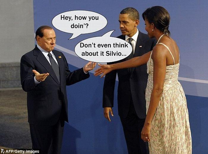 Мишель Обама продинамила Сильвио Берлускони (9 фото)