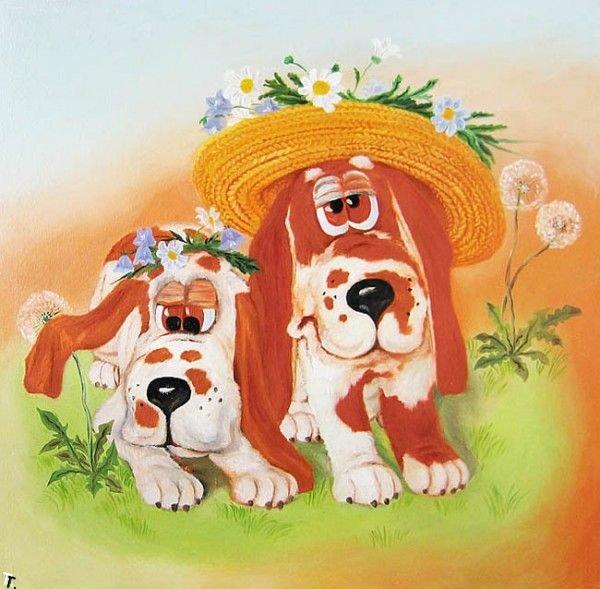 Рисованные картинки собаки прикольные