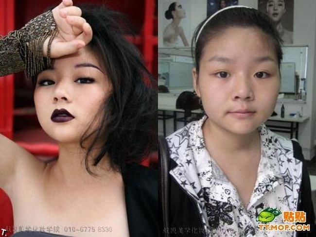 Азиатские девушки до и после макияжа (11 фото)