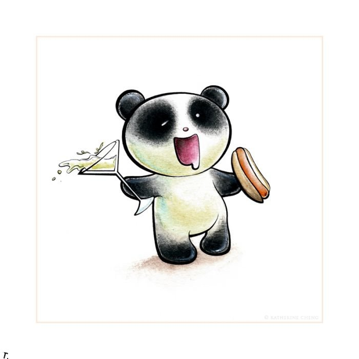 Панда смешная рисунок, рабочий четверг