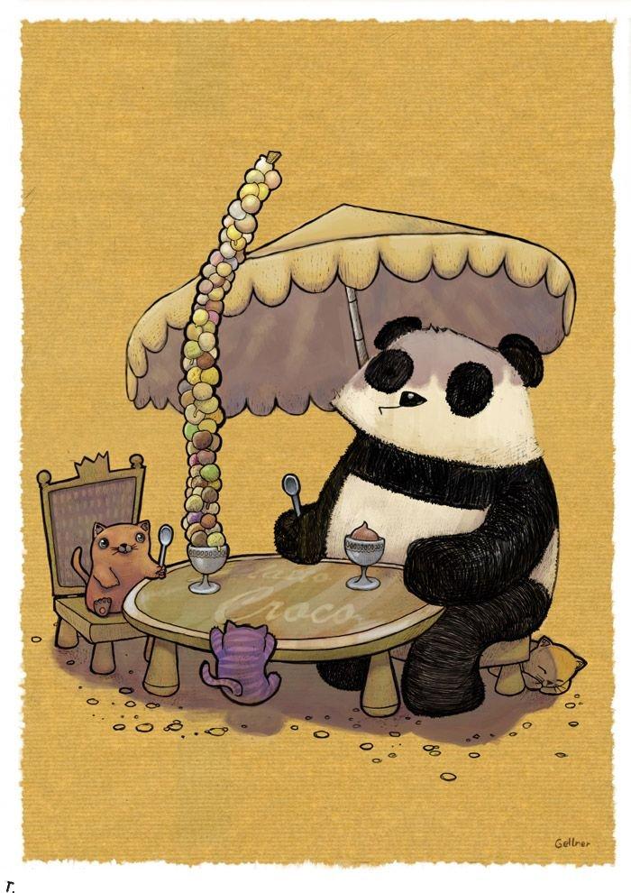 Днем, панда смешная рисунок