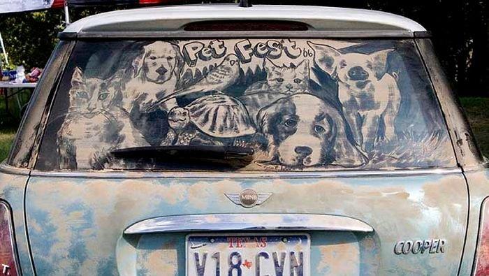 Рисунки на грязных автомобилях (114 фото)