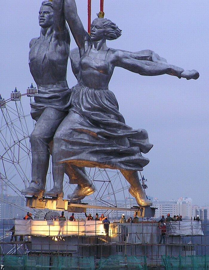 скульптура рабочий и колхозница фото можете взять