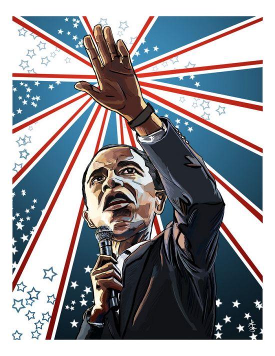 Нарисованный президент США Обама (23 фото)