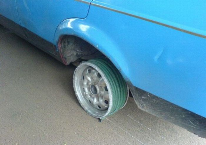 Шланг вместо шины (5 фото)