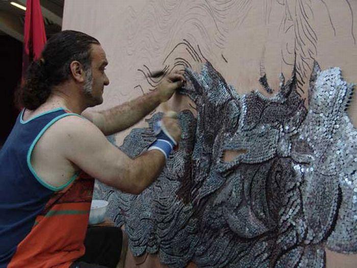 Самые большие мозайки из гвоздей и зубочисток (26 фото)