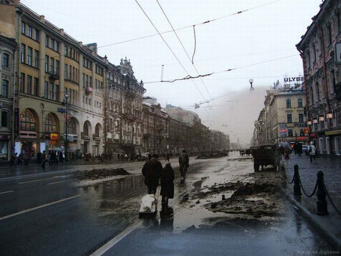 Прошлое и настоящее. Блокадный Ленинград (114 фото)
