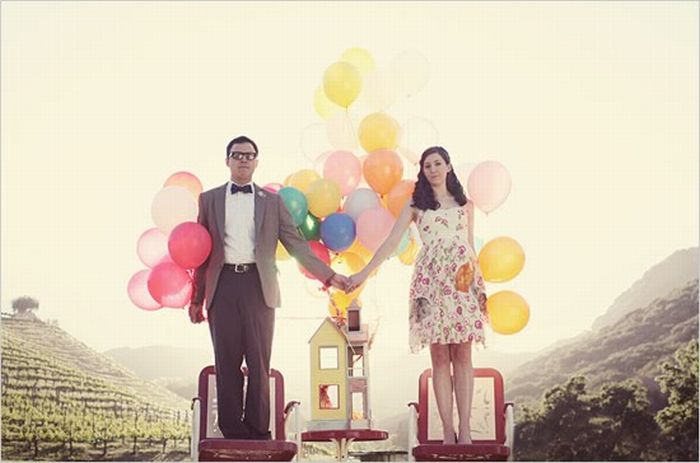 """Свадебные фотографии в стиле мультфильма """"Вверх"""" (9 фото)"""