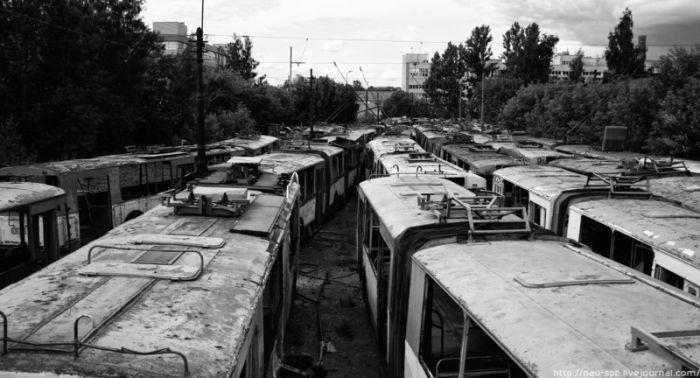 Кладбище троллейбусов (13 фото)
