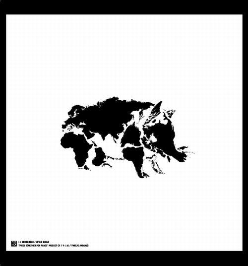 Животные китайского календаря, созданные из континентов Земли (12 фото)