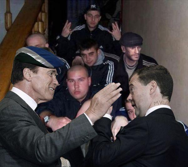 Классная фотожаба. Дмитрий Медведев и Арнольд Шварценеггер (42 картинки)