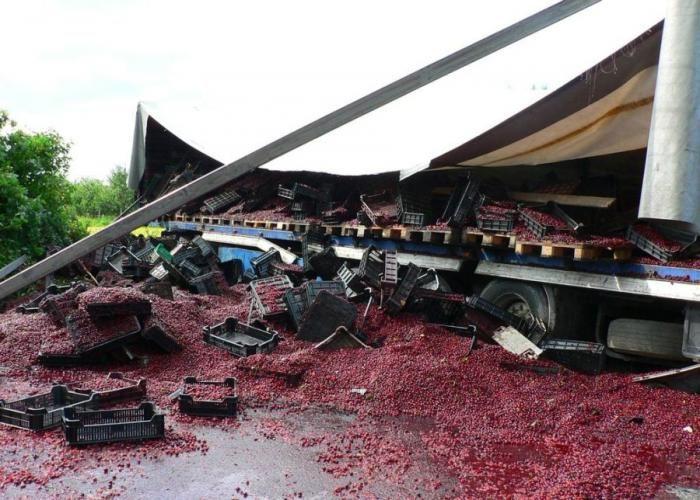 Грузовик с черешней попал в аварию (12 фото)