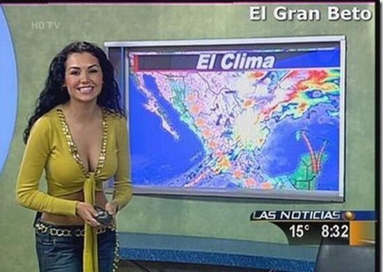 Обнажающаяся девушка демонстрирует погоду (7 фото)