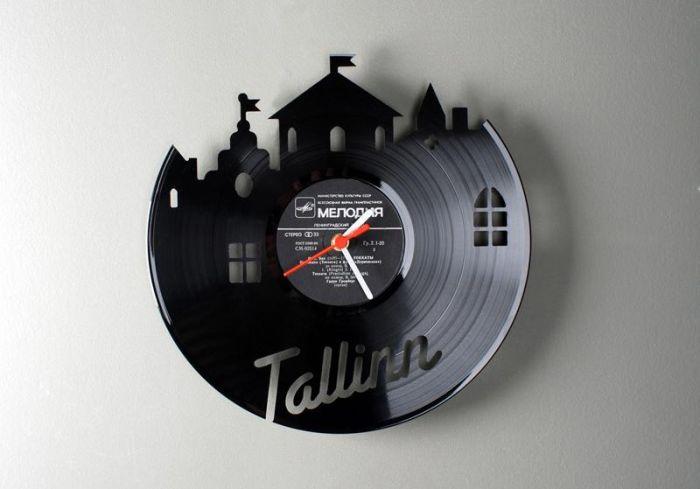 Часы из виниловых пластинок (17 фото)