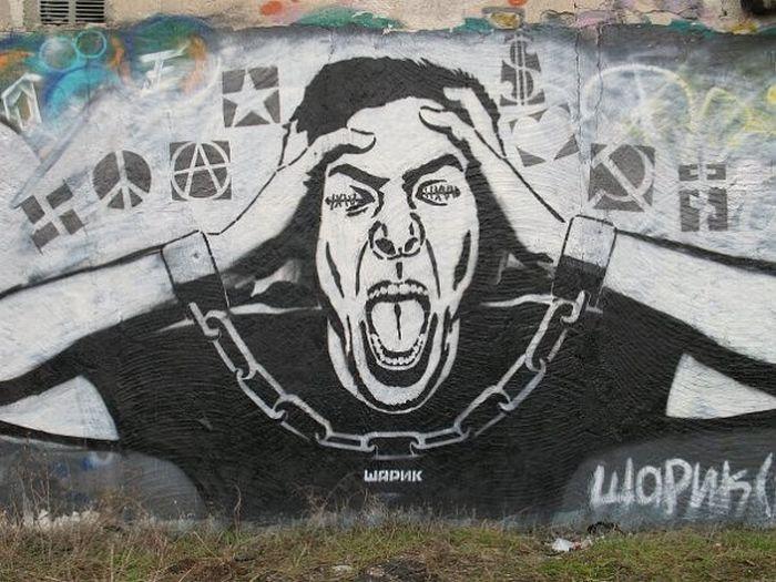 Арт-граффити от Шарика (20 фото)