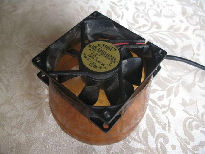 Кондиционер из бутылки и компьютерного кулера (7 фото)