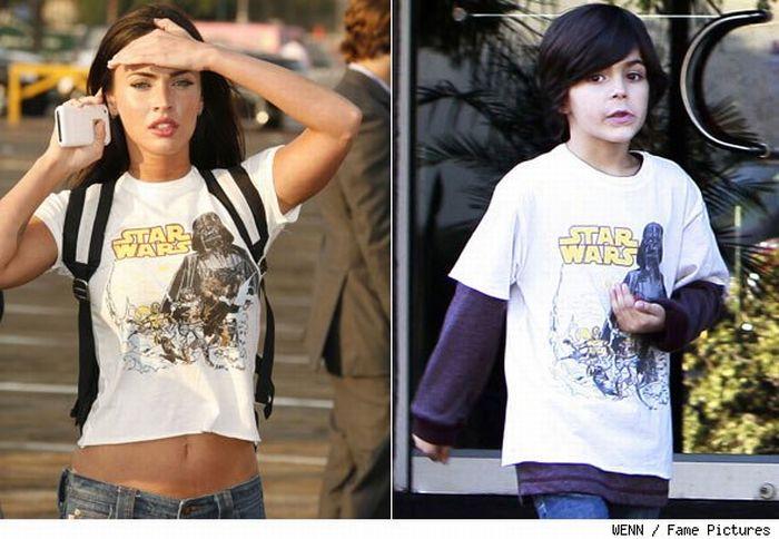 Меган Фокс в футболках 8-летнего мальчика (2 фото)