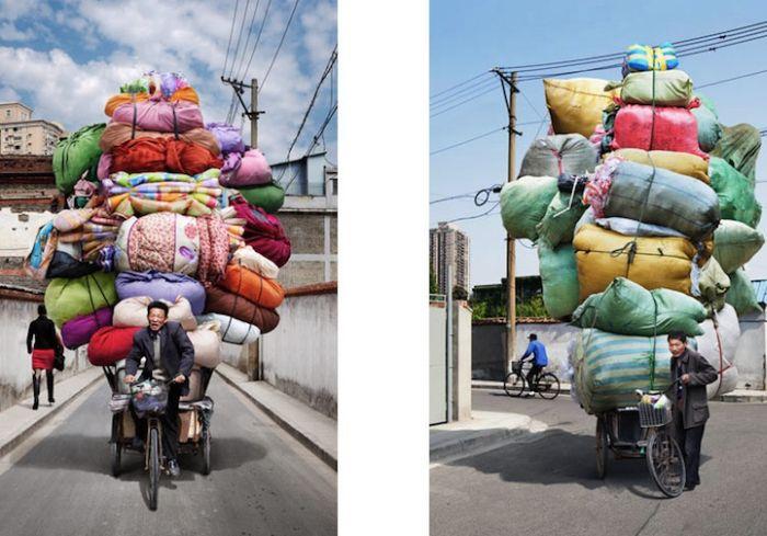 Перевозка груза на велосипедах (9 фото)