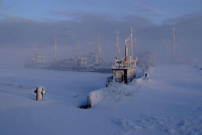 Корабли зимой (15 фото)