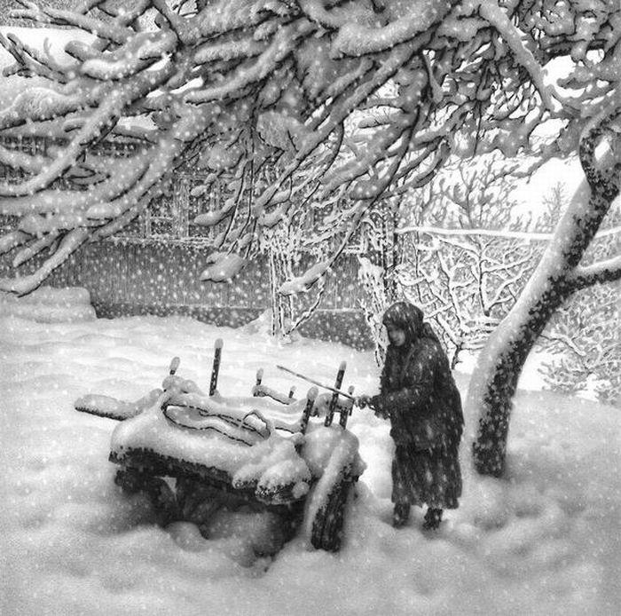 Зимние пейзажи, нарисованные ручкой (22 фото)