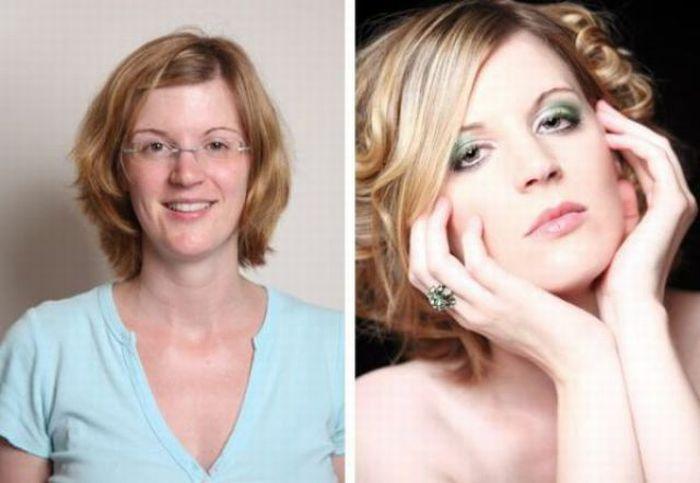 Девушки до и после макияжа (21 фото)