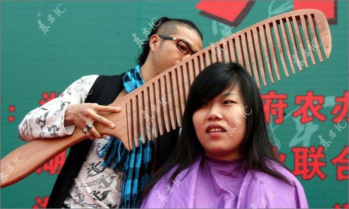 Огромная расческа и ножницы (11 фото)