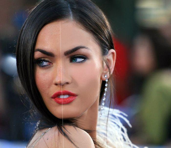 Меган Фокс до и после Фотошопа (12 фото)