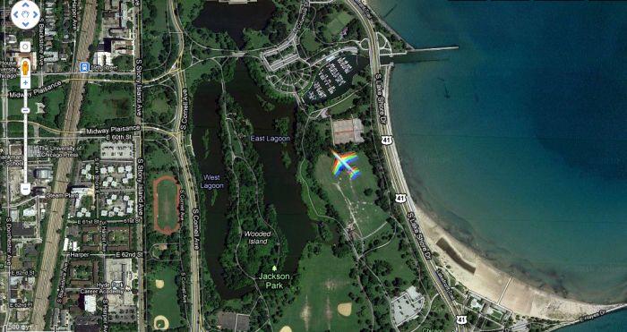 Самолет-радуга над Чикаго (6 фото)