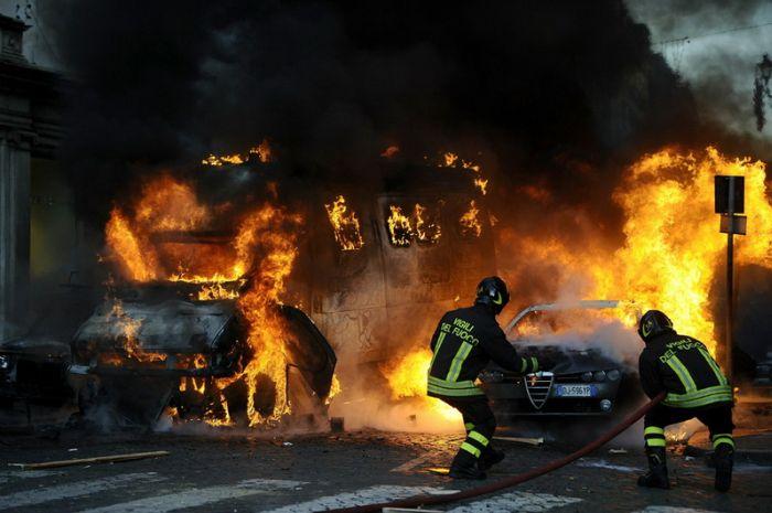 Беспорядки в Риме (36 фото)