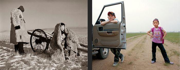 Дети монгольских кочевников тогда и сейчас (14 фото)