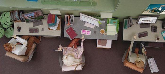 Офис из бумаги (12 фото)