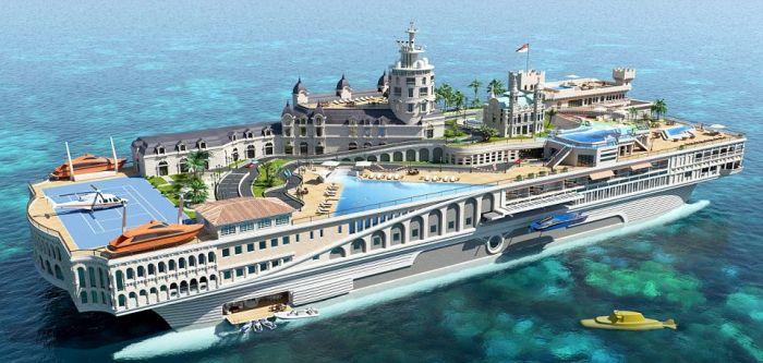 Супер яхта в виде улицы Монако (4 фото)