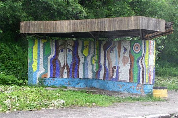 Автобусные остановки времен СССР (65 фото)